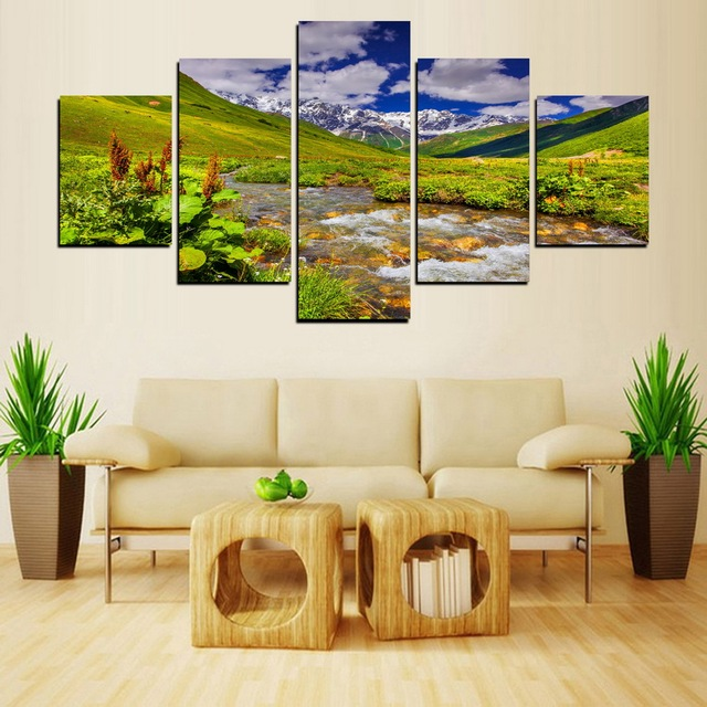 Outside View Canvas Snowy Prairie Painting On Canvas Wall Art ...