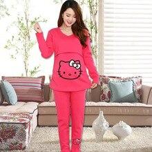 2016 maternity winter plus velvet thickening Korean cartoon pregnant women breastfeeding cotton clothing t-shirt leggings set
