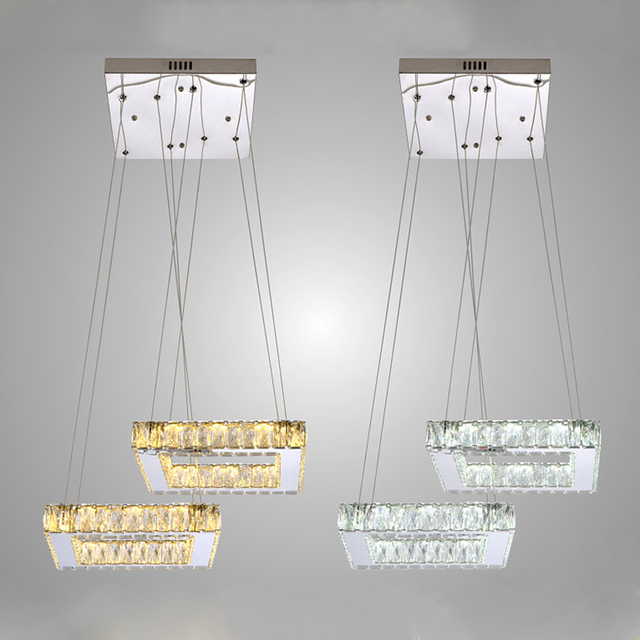 Chandelier Light Fixture Crystal Stainless Steel Led Lighting Ac110 240v Driver With Controllor Dimmer Modern