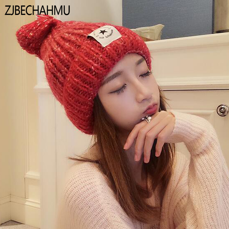 New Casual Solid Pom Poms Winter Hat for Women Fashion Solid Warm Hats Knitted Beanies Cap Brand Thick Female Cap Wholesale bingyuanhaoxuan2017 warm patchwork hats casual female autumn winter hats handmade coarse knitted hat for women beanies candy cap