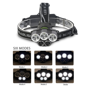 Image 5 - USB נטענת LED פנס 5 לבן אור או 3 לבן + 2 bule אור עמיד למים led פנס דיג מנורת שימוש 18650 סוללה