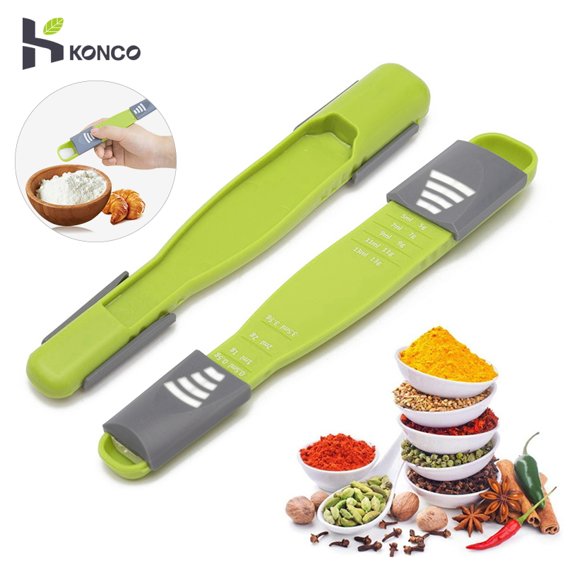 KONCO Measuring Spoon, Adjustable Scale Eight Stalls Metric Spoon For Measuring Dry/Liquid Ingredients,Creative Double End