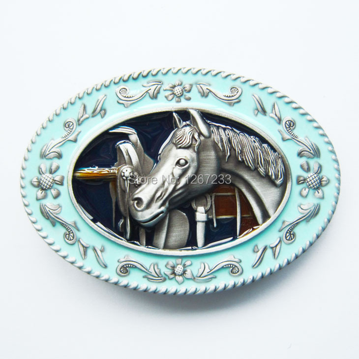 Distribute Belt Buckle Horse in the Stable Belt Buckle Blue Belt Buckle Free Shipping 6pcs Per