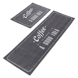 2Pcs/Set Natural Latex Antiskid Bottom Kitchen Mat Water-absorbing Polyester Kitchen Floor Mat Oil-absorbing Kitchen Rug