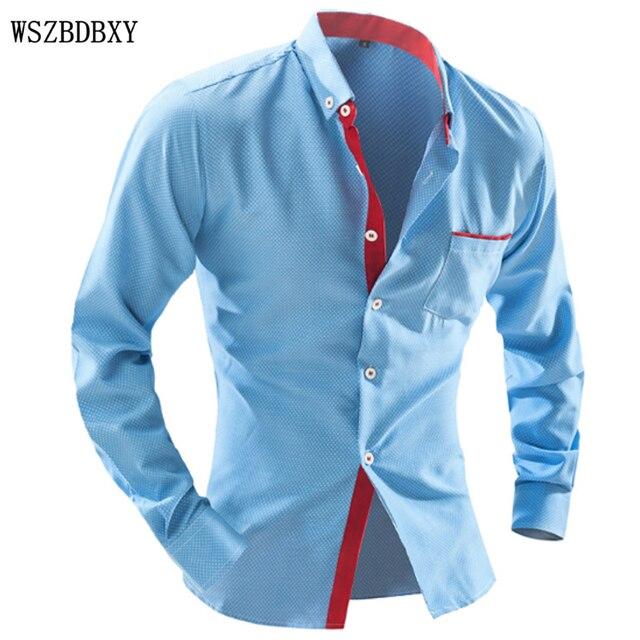 Brand 2016 Dress Shirts Mens Polka Dot Shirt Slim Fit Male Shirts  Long sleeve Men Shirt Heren Hemden Slim Camisa Masculina