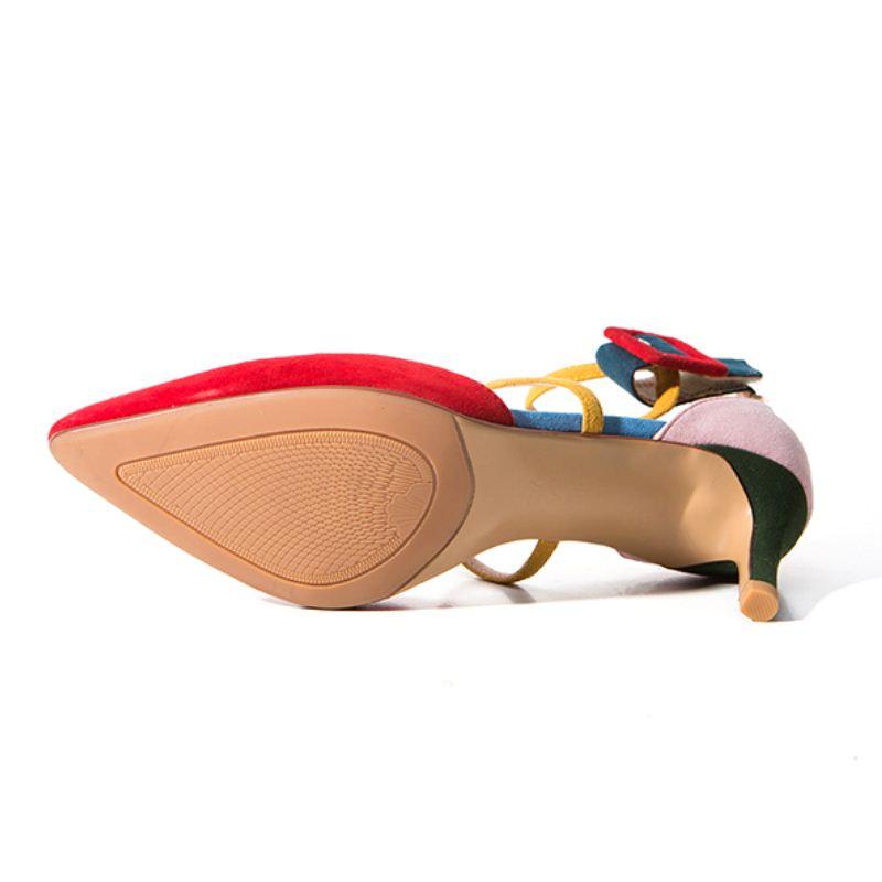 Red Taille Robe Sandales De Femmes Mixied En Talons Mode À 40 Couleur Cuir Hauts Partie Véritable Chaussures Boucle Rizabina rouge Sexy 33 STwxRngS