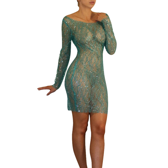 a9d6b6fd4a US $18.8 |2018 New stylish beauty party dress women long sleeve mesh see  through sequin dress Lurex summer dress DN8048-in Dresses from Women's ...