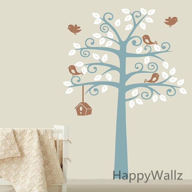 US $47.89 6% OFF|Baby Kindergarten Baum Wandaufkleber Haus Vögel Baum  Wandtattoo kinderzimmer diy kinder baum aufkleber mit regal heißer verkauf  T33 ...