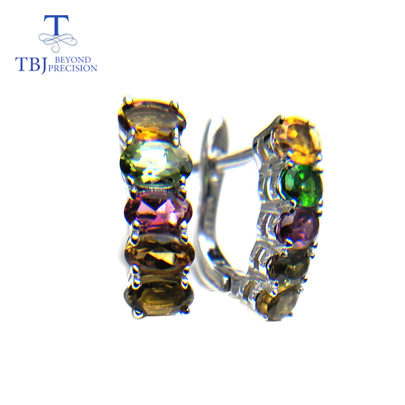 TBJ natural fancy color tourmaline clasp earring Romantic simple design gemstone earring 925 silver for girls
