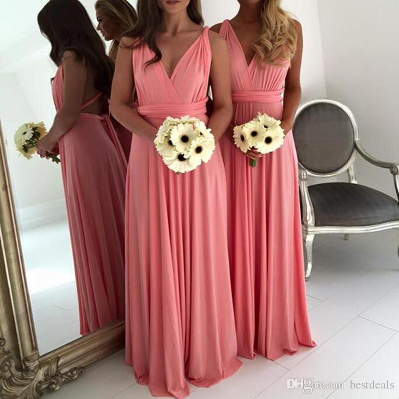 Sexy Backless African Wedding Guest   Dress   A Line Long   Bridesmaid     Dresses   2018 V-Neck Long Maid of the Honor Gowns Prom   Dress