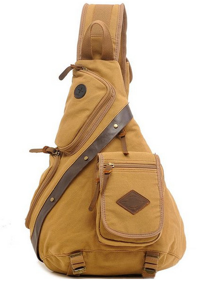 Men 39 s Chest Pack Crossbody Bags Vintage Canvas Shoulder Sling Bag Rucksack Wear resisting Classical messenger bag brown large in Crossbody Bags from Luggage amp Bags