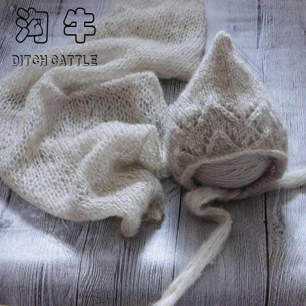 Complete set of sale.Hand Knit Mohair Wrap With Bonnet .Newborn Photography Props Baby Shower Gift Props For Baby