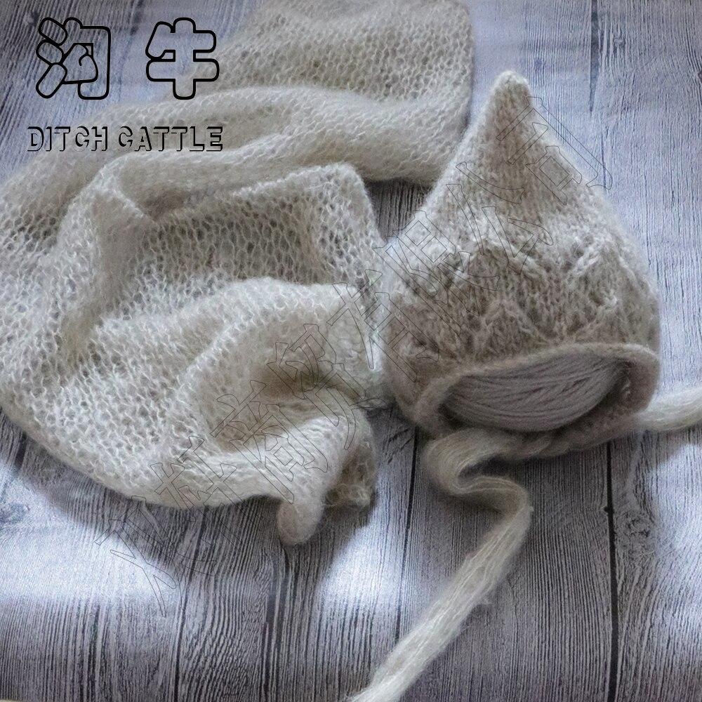 Set completo di vendita. A Mano Knit Mohair Wrap Con Il Cofano. neonato Photography Puntelli Baby Shower Regalo Puntelli Per Il Bambino