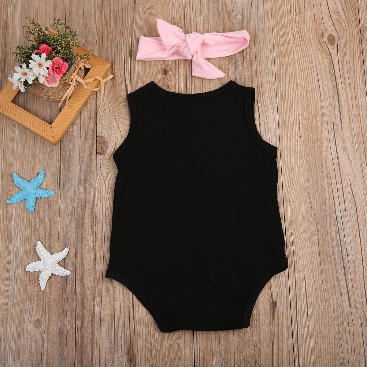 2pcs Baby Girls Floral Letter Printed Romper Sleeveless Jumpsuit + Headband Sunsuit Outfit Set 0-24M
