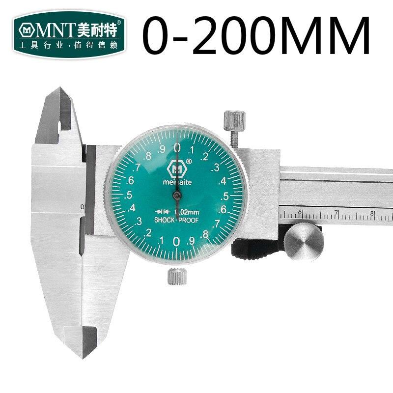 MNT Stainless steel Vernier Caliper Dial Caliper Dial Gauge Caliper 0.02 mm Shock proof 200 mm dial caliper bx120 2ca steel strain gauge and steel strain gauge