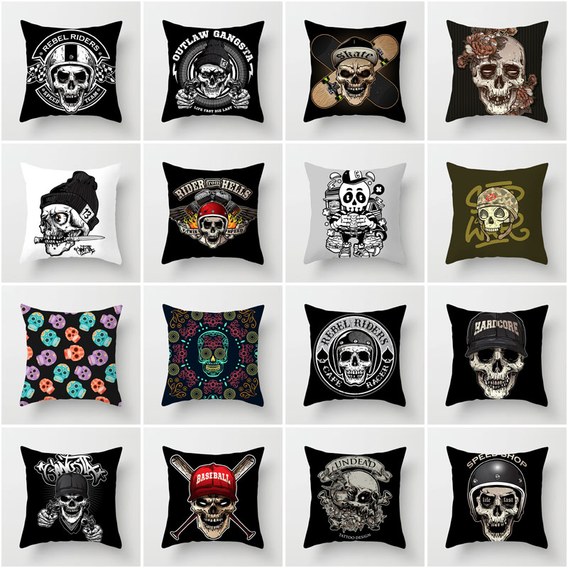 New Fashion Home Decoration Soft Polyester Pillowcase Living Room Sofa Cushion Cover Horror Skull Pillow Cover Car Lumbar Pillow