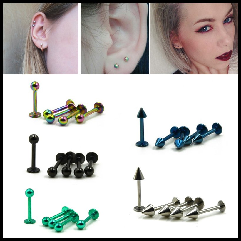 5Pcs Steel Ear Cartilage Tragus Piercing Ear Helix Stud Bar Top Upper Assorted Colors Labret Stud Lip Ring Piercing Jewelry 16g