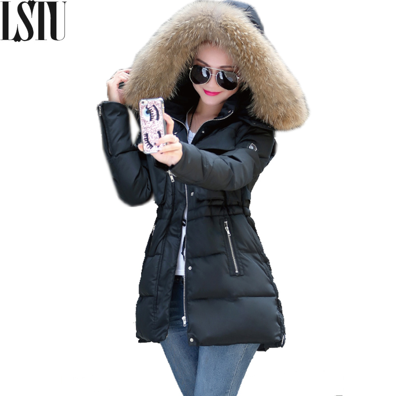 Lstu 2017 New Fashion Winter Jacket Women Fake Raccoon Fur Collar Winter Coat Women Parkas Loose Casual Jacket Female Outerwear 2017 winter new clothes to overcome the coat of women in the long reed rabbit hair fur fur coat fox raccoon fur collar