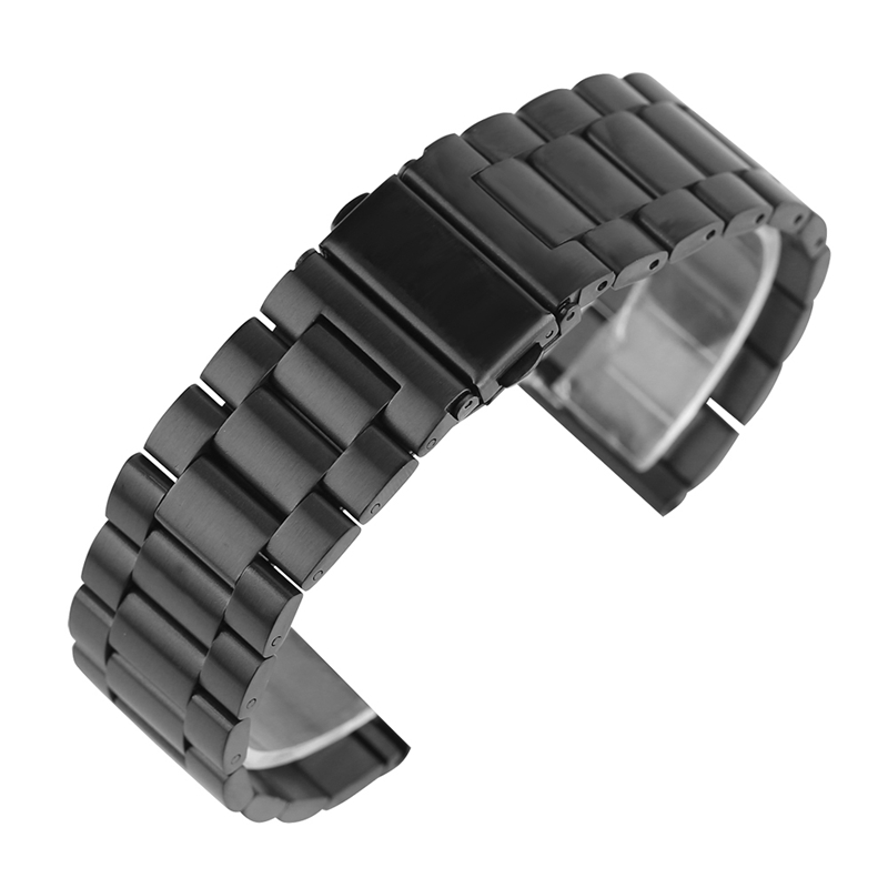 20mm 22mm Solid Watch Bracelet Black Stainless Steel Watch Band Adjustable Metal High Quality Watchband Strap Watch Replacement high quality milan stainless steel watchband 20mm 22mm men and women black brown watch strap for breitling strap bracelet