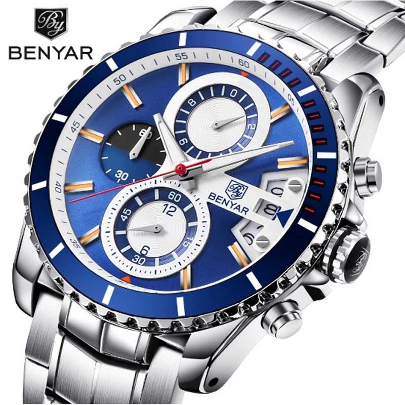 BENYAR Luxury Chronograph Sport Mens Watches Fashion Brand Military Waterproof Quartz Watch Relogio Masculino Saat Dropshipping in Quartz Watches from Watches