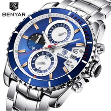 цены BENYAR Luxury Chronograph Sport Mens Watches Fashion Brand Military Waterproof Quartz Watch Relogio Masculino Saat Dropshipping