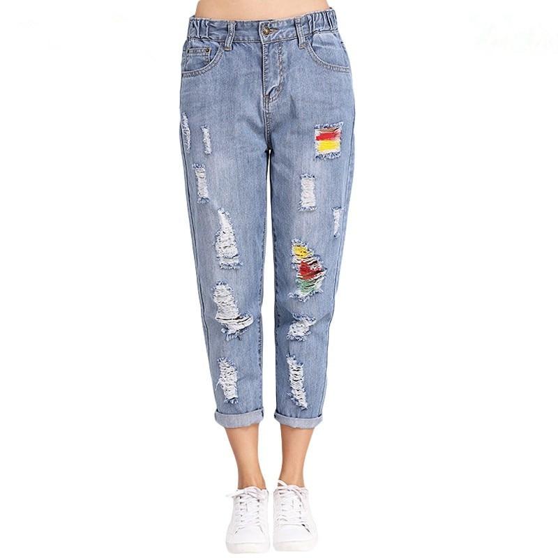 2019 Fashion Spring Summer Large Size Hole Denim Jeans Women Mid Waist Loose Harem Jeans Woman Ripped Panelled Denim Pants
