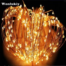 Wonlukiy 30M 300 Led Silver Copper Wire Garland Fairy String Light For Christmas Holiday Home Wedding & DC12V 1A Power Supply(China)