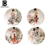 10 Inch Chinese Style Ceramic Wall Plate Decoration Hand Painted Vintage Beauty Pattern Crafts Living Room Wall Art Adornment