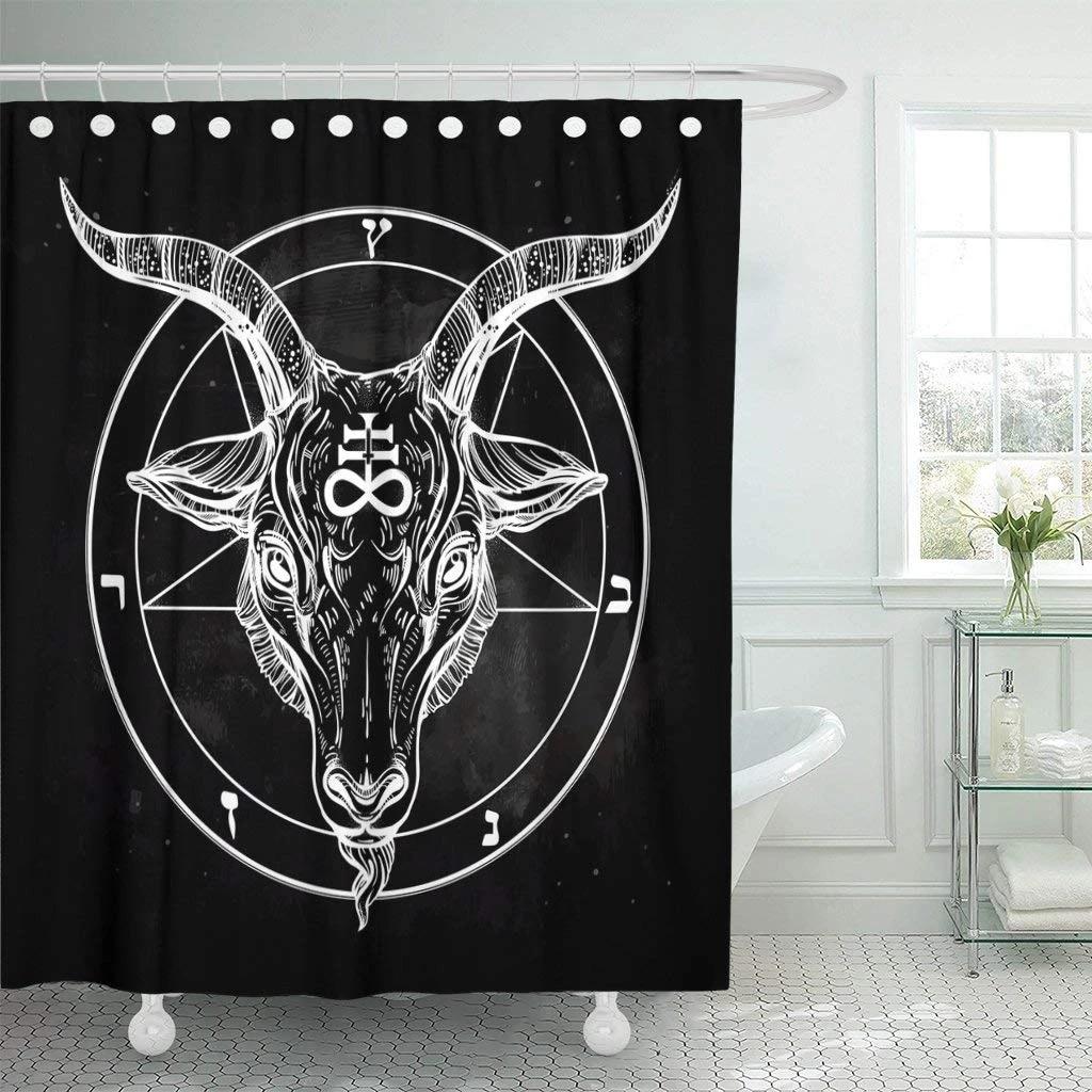 pentagram with demon baphomet shower curtain satanic goat head binary symbol tattoo retro music summer for biker black