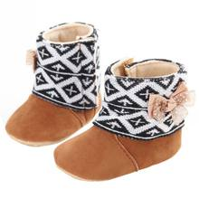 Winter Baby Shoes Baby Girl Bowknot Fleece Snow Boots Booties Kids Princess Winter Shoes Nz17(China)