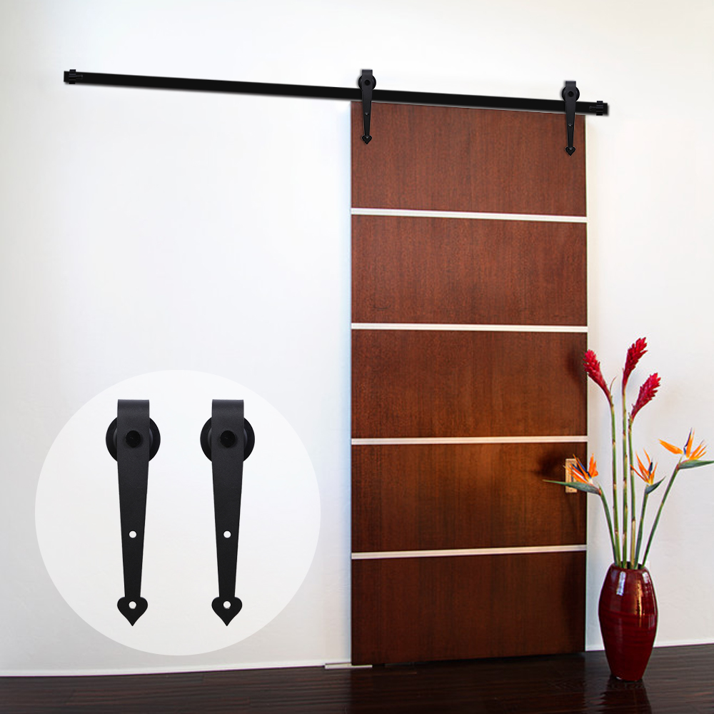 LWZH 6ft 7ft 8ft 9ft Sliding Wood Barn Door Steel Hardware Kit Black Heart  Shaped Hangers Country Style Roller for Single Door
