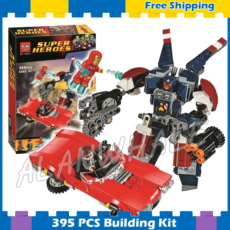395pcs Super heroes Avengers Detroit Steel Strikes Robots Mech 10674 Model Building Blocks Toys Bricks Sets Compatible With Lego