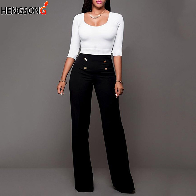 2018 High Waist Flare   Pants   With Button Women Trousers Female Office Lady Casual   Wide     Leg     Pants   Casual Long   Pant