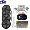 20M 15M 10M RGB Led Strip lights 5050 fita de led tape DC 12V SMD 60Leds/M + RF Touch Remote Controller + Power Supply full set
