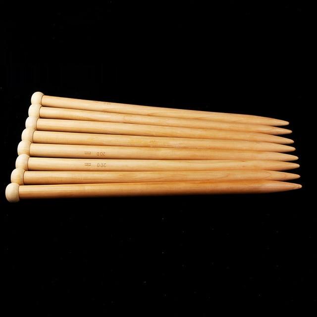 Совет игла спицы вязаный крючком карбида бамбука иглы одного полноценного деревянный иглы ткачество tools35cm/20 мм