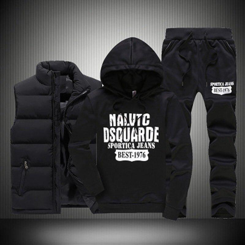 Autumn Winter 3 Pics Sweatshirt Set Men Hooded Print Thicken Down Coat Vest Casual Sportwear Suit Clothing Male M 5XL