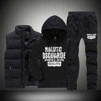 Autumn Winter 3 Pics Sweatshirt Set Men Hooded Print Thicken Down Coat Vest Casual Sportwear Suit Clothing Male M 5XL