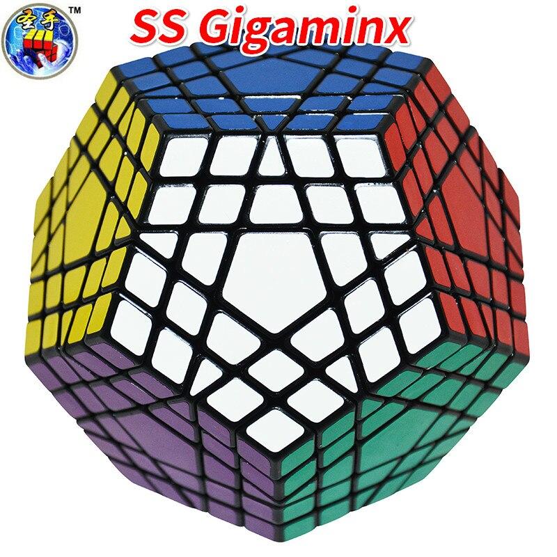 Shengshou Gigaminx Magic Cube Noir De Base avec PVC Autocollants Professionnel Magique Cube D'apprentissage jouets éducatifs