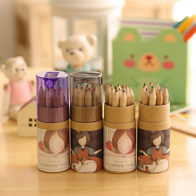12 Pcs/lot Wooden Colored Pencil Set With Sharpener Natural Wood Pencil Coloring Pencil For Drawing Painting Crayons