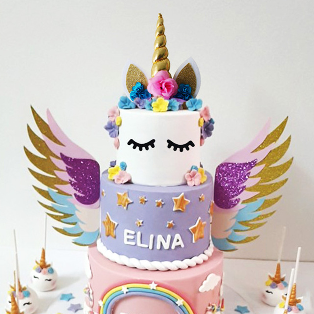 Meidding Birthday Party Supplies Cake Topper Gold Unicorn Horns