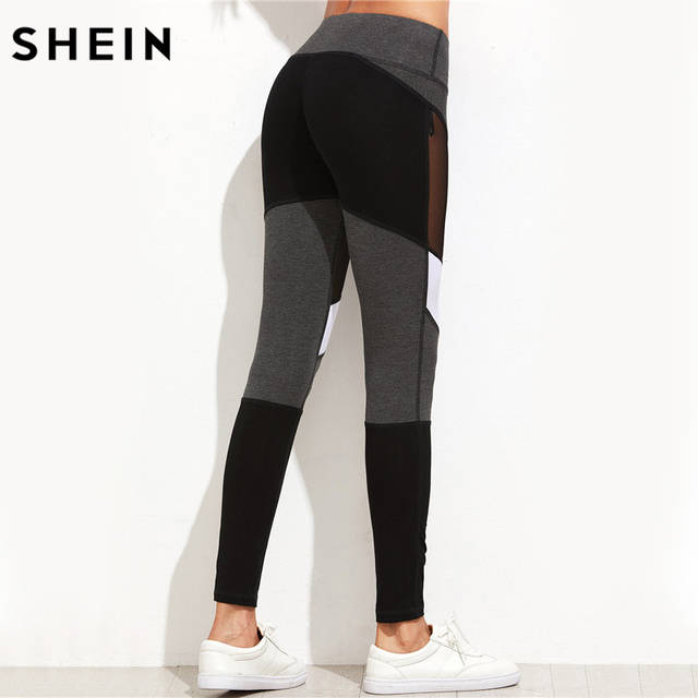 SHEIN Casual Leggings Women Fitness Leggings Color Block Autumn Winter  Workout Pants New Arrival Mesh Insert 8ef4aa51c7b
