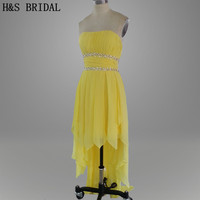 Real Photo Yellow Color Hi Low Evening Dress Beading Short Front Long Back Prom Dresses