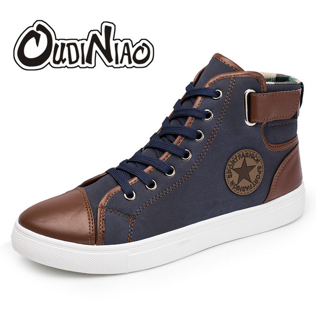 8af5dc5cd9f7 OUDINIAO Mens Shoes Casual PU Designer Sneakers Men High Top Casual 2018 Big  Size Men s Casual Shoes Breathable Fashion Star