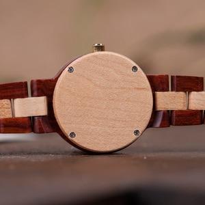 Image 3 - relogio femino BOBO BIRD Elegant Wooden Two tone Strap ladies Week Display Quartz Wristwatch With Wooden Box M19