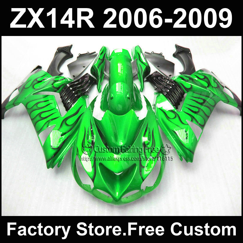 Motorcycle Injection fairing kit for Kawasaki 2006 2007 2008 2009 ZX14R Ninja ZX 14R 06-09 black flame in green fairings parts aftermarket free shipping motorcycle parts for motorcycle 2006 2007 2008 2009 kawasaki zx14 zx14r zx 14r axle caps covers chrome
