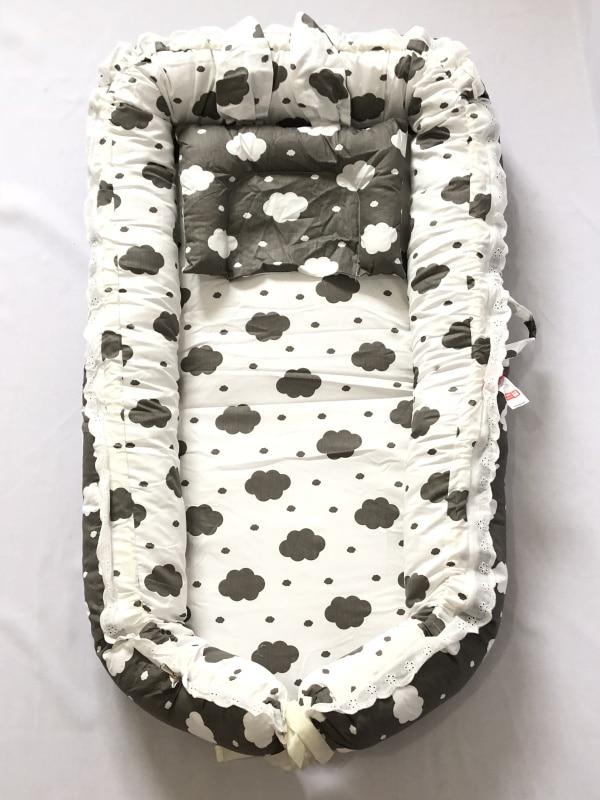 С подушкой кружева стиль принцессы-детский шезлонг/кровать Люлька-облако унисекс детское гнездо/ - Цвет: white and gray