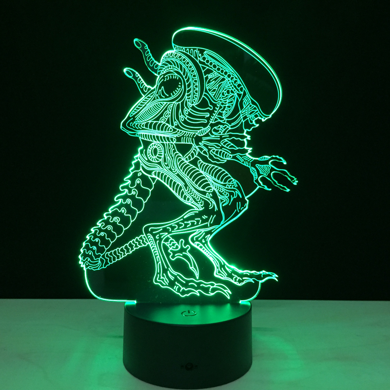 Alien vs Predator 3D Lighting Mood Lamp 7 Colors Changing Lamparas with USB Cable GX136 v8 micro usb changing colors glowing cable with us standard power adapter