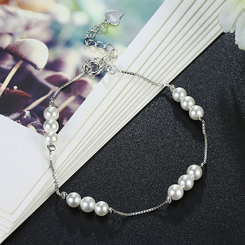 SHEON Authentic 925 Sterling Silver Delicate And Simple Pearl Bracelets Elegant Link Chain For Women Stering Silver Jewelry in Chain Link Bracelets from Jewelry Accessories