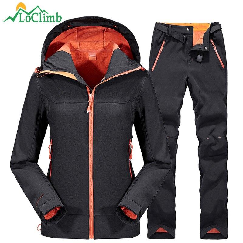 LoClimb Waterproof Softshell Ski Jacket Men Women Winter Fleece Outdoor