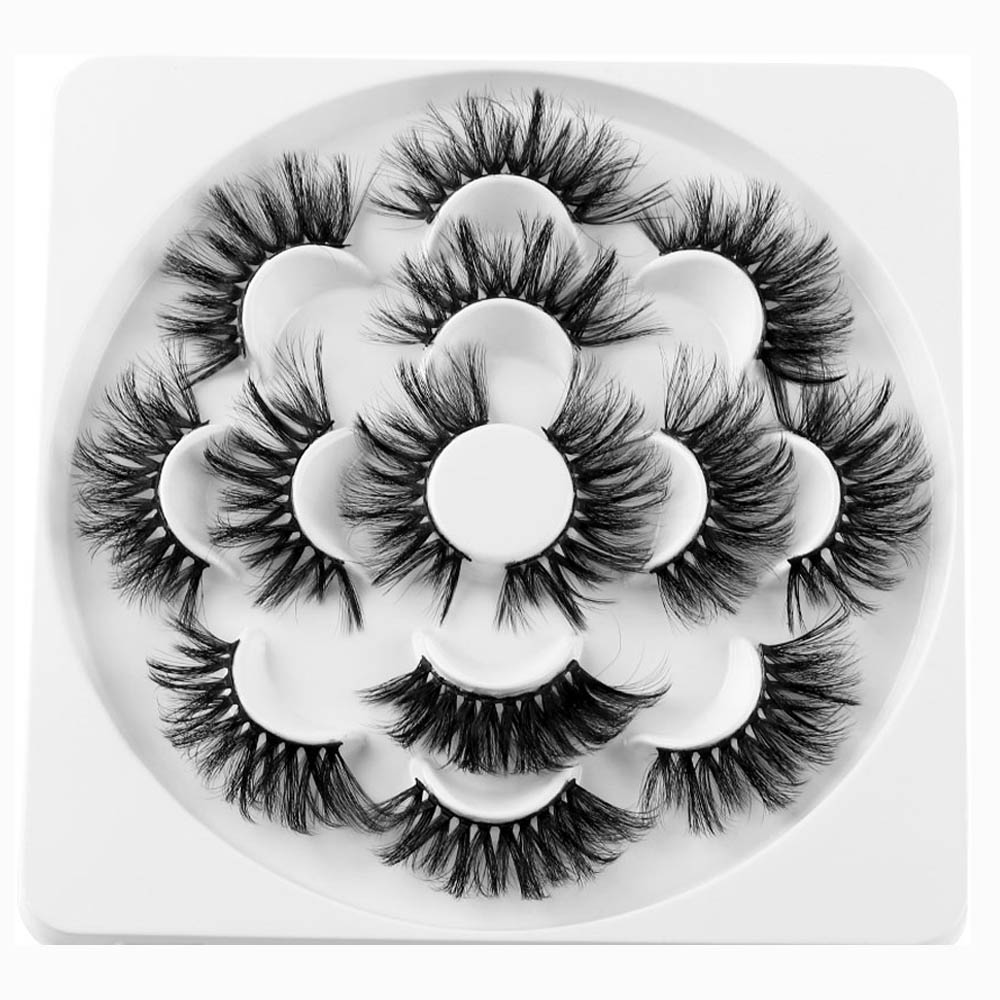 7 Pairs 25mm Lashes 6D Mink Hair False Eyelashes Long Lashes Extension Thick Wispy Fluffy Handmade Eye Makeup Tools